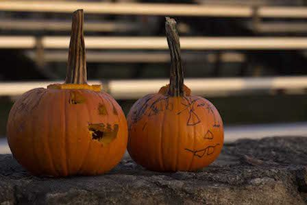 Children carve their own pumpkins at a student-run carving station | by Clement Doucette