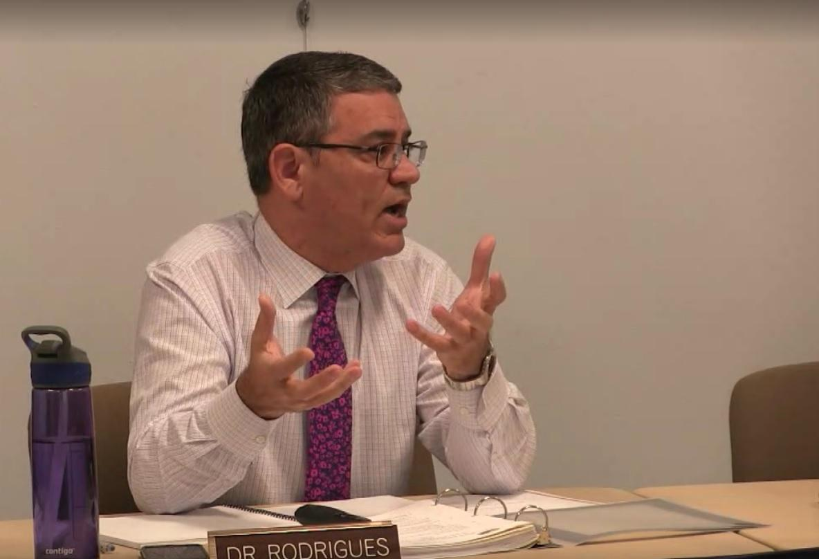 Superintendent Marco Rodrigues discusses the 2016 MetroWest Health Survey with the school committee. | Photo via HudTV