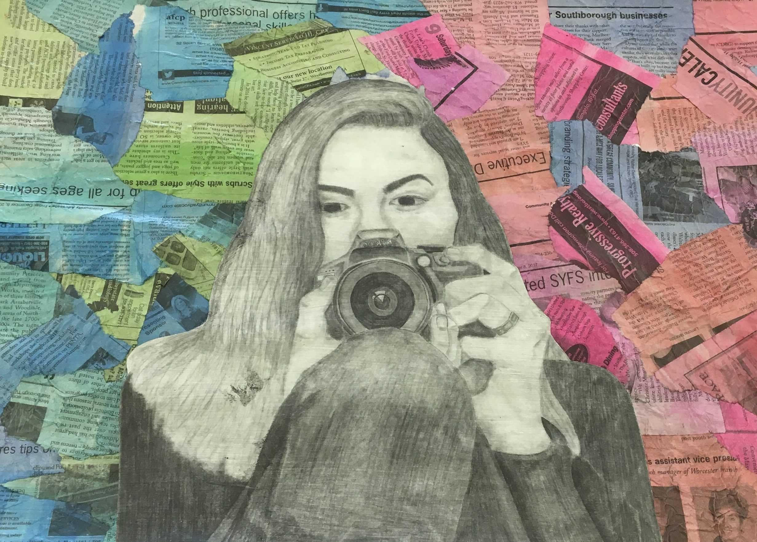 Ariana Jordan-MacArthur created a self portrait, inspired by her love for photography. She has experience using watercolors and making collages, so she tried to incorporate that into her background. | by Lily Clardy