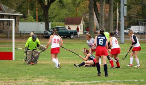 Goalie Buffy Cautela saves another shot from North Middlesex. | by Serena Richards