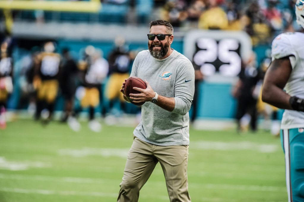 Matt+Burke+shown+on+the+field+holding+a+football+during+the+Dolphins+game+against+the+Steelers.++%7C+Submitted+photo+by+Peter+McMahon+%28Miami+Dolphins%29+