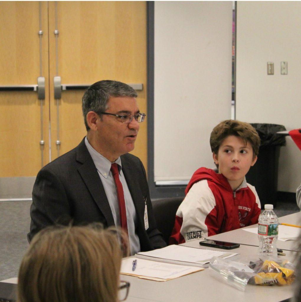 Superintendent+Marco+Rodrigues+talks+during+a+meeting+of+the+Superintendent+Student+Advisory+Committee.+%28Photo+submitted%29