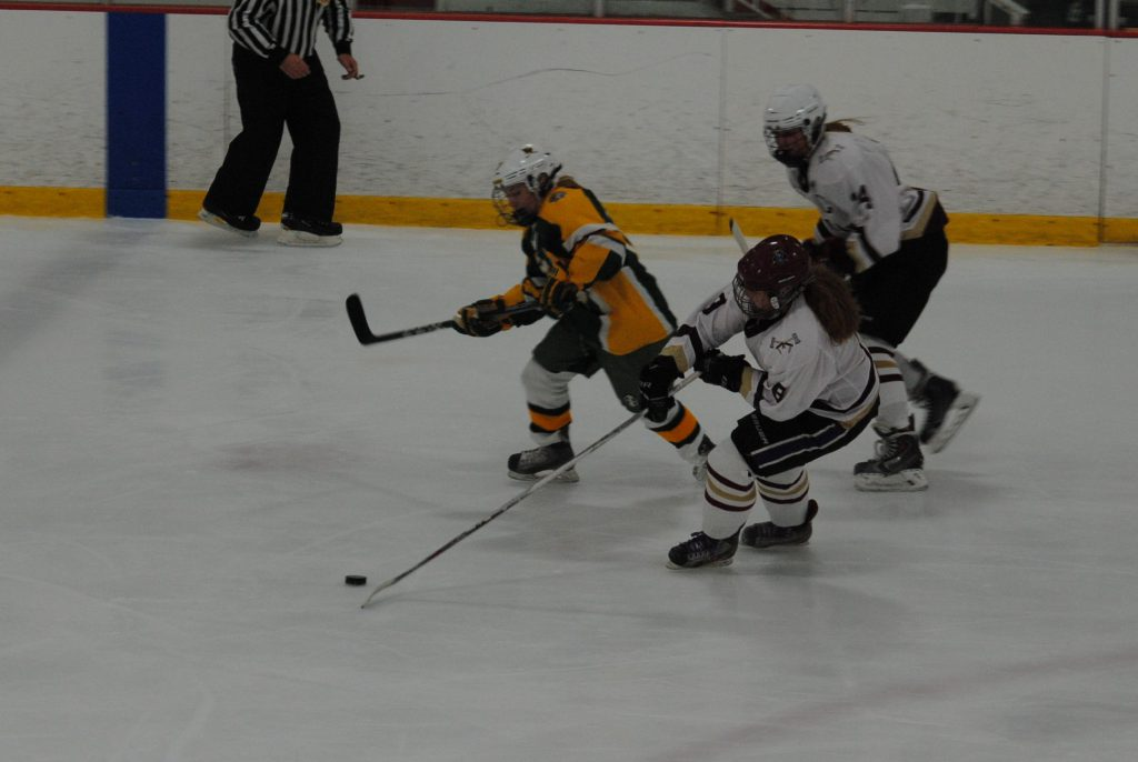 Tomahawk+defender+and+Hudson+High+School+student+Maggie+O%27Brien+stretches+to+corral+a+puck+during+a+battle+for+possession+with+a+King+Phillip+forward.+Head+Coach+Mike+Hodge+would+later+praise+O%27Brien+for+her+success+in+this%2C+her+first+game.++%7C+by+Dakota+Antelman