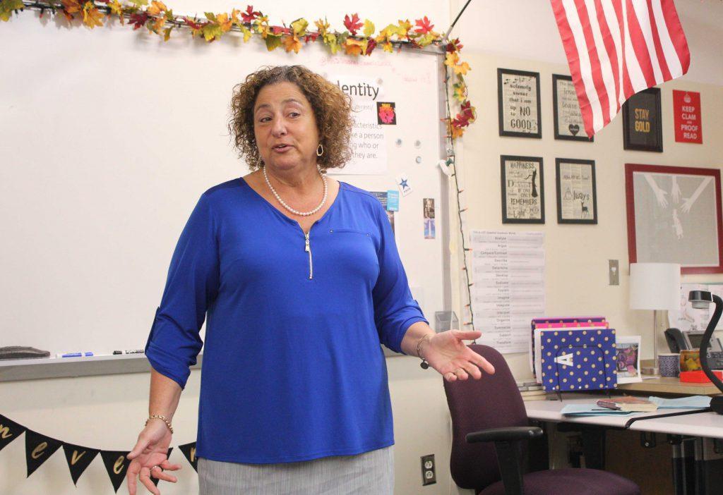 Nancy+Tobin+speaks+in+a+Hudson+High+classroom
