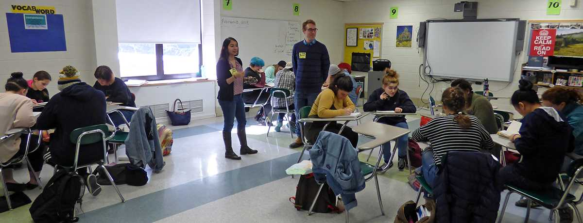 Local poets worked with students during a TASC advisory period at Contoocook Valley Regional High School. | by ConVal Staff