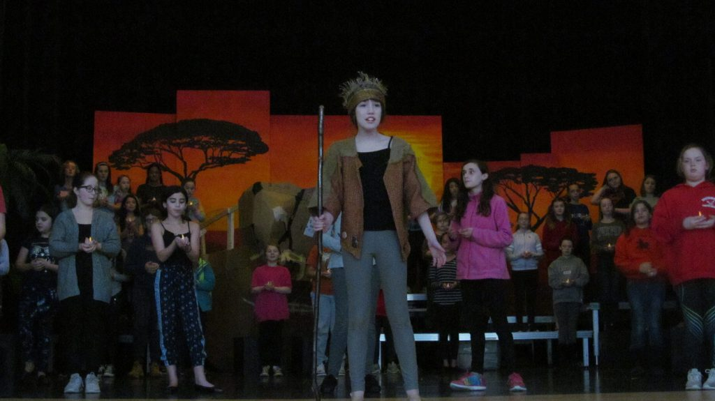 Amelia+Dufour+as+Rafiki+rehearses+He+Lives+in+You+with+the+ensemble.+%7C+Veronica+Mildish