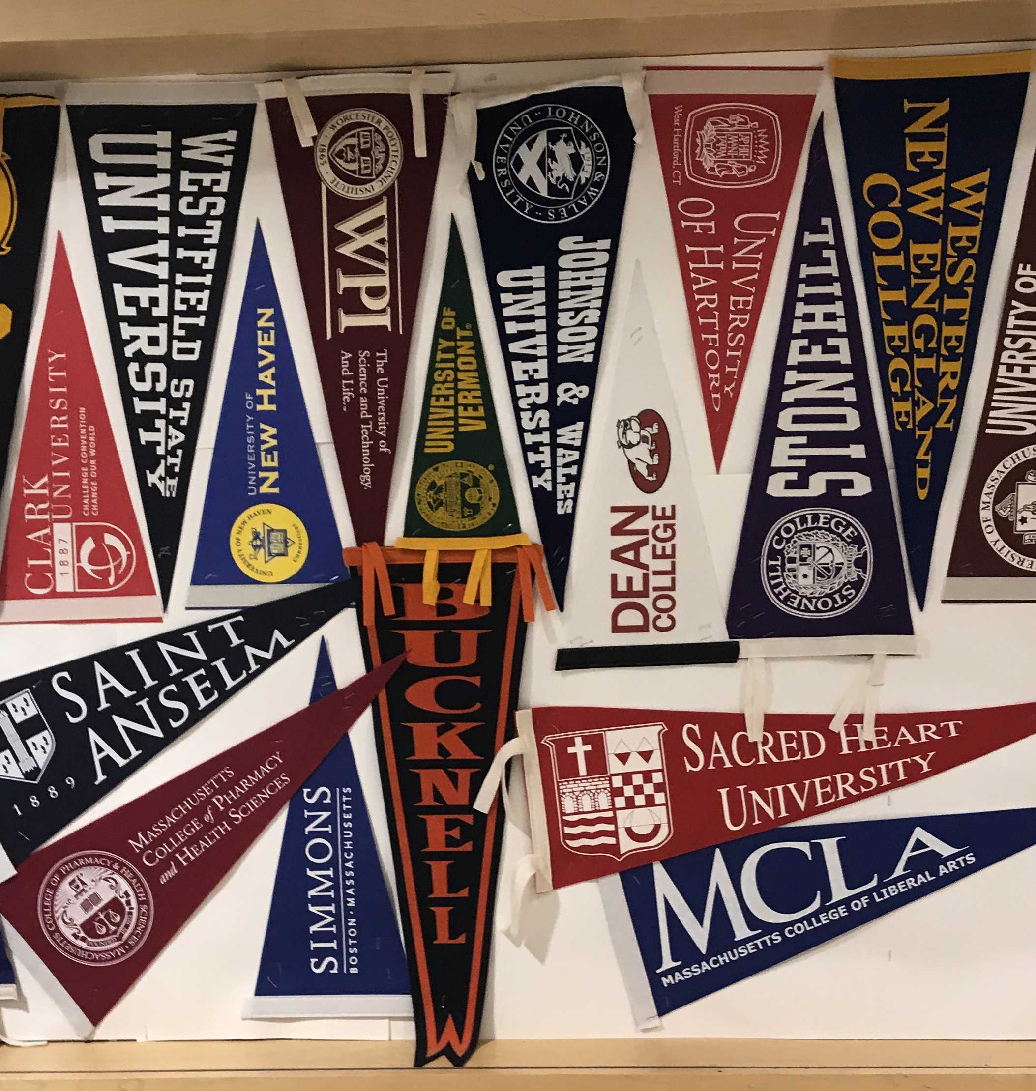 Guidance displays a variety of college options for students.