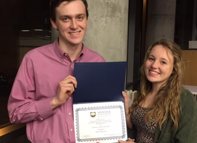 On March 9, 2017 Dakota Antelman and Siobhan Richards attended the awards ceremony at Suffolk University for the Greater Boston High School Newspaper competition, where they received an Honorable Mention. | by Amy Vessels