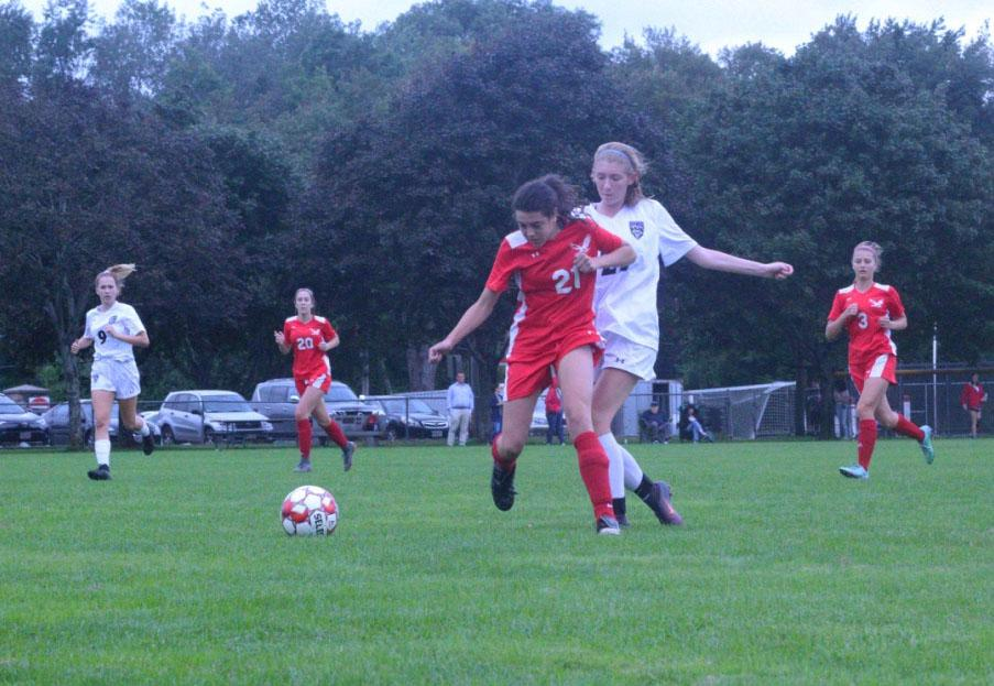Number 25, Ciara Firth, stole the ball and breaks away to score. | Photo by Isabel Theis.