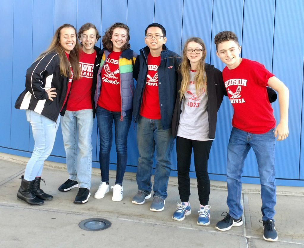 The Trivia Team: Sophia Togneri, Charles Togneri, Julia Terra-Solamao, Harrison Zheng, Gemma Grant, and George Sachs-Walor (Left to Right) stand together in front of where their competition took place. | photo courtesy of Whitney Nielsen