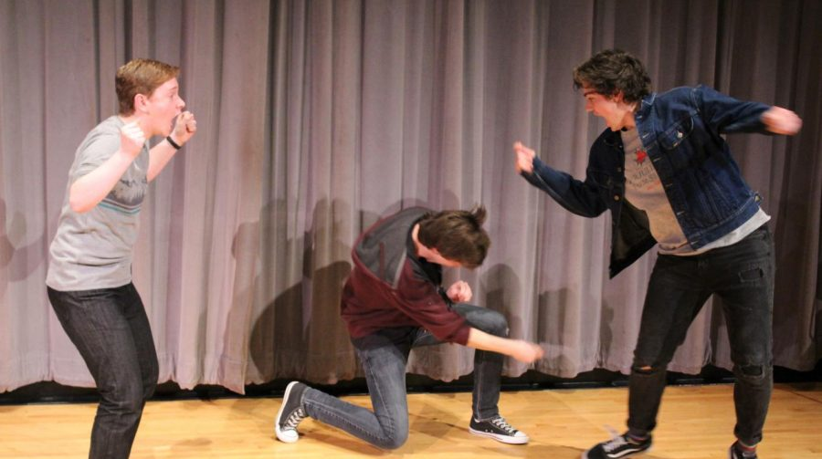 Sophmore, Ilan Levine acts out a scene with Seniors, Trevor Sawyer and Jack Cecelya during