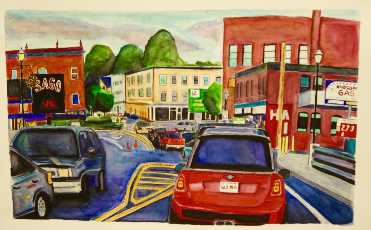 Painting of the Hudson Rotary by: Kristine Young