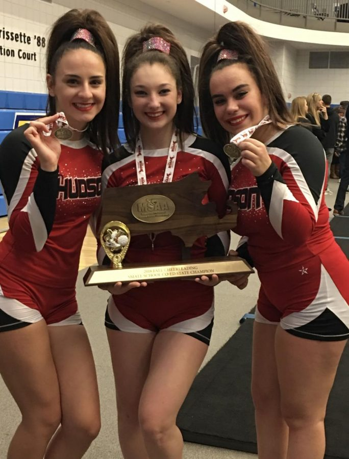 The+HHS+Cheer+Captains+win+the+MSAA+Championship.+From+the+left+is+Rachel+Matisko%2C+Jill+Civitarese+and+Alicia+Chaves.