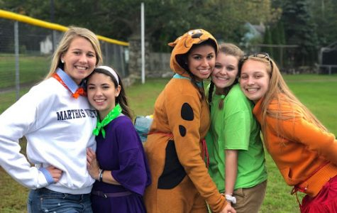 Girls group at Hawk Wars dressed as Scooby Doo characters. From Right, Jordyn Yates, Brianna Lento, Sophia Kovacs, Leah Chignon, and Megan Leahy.