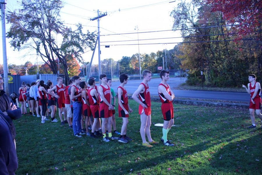 After the meet both teams came together to shake hands.