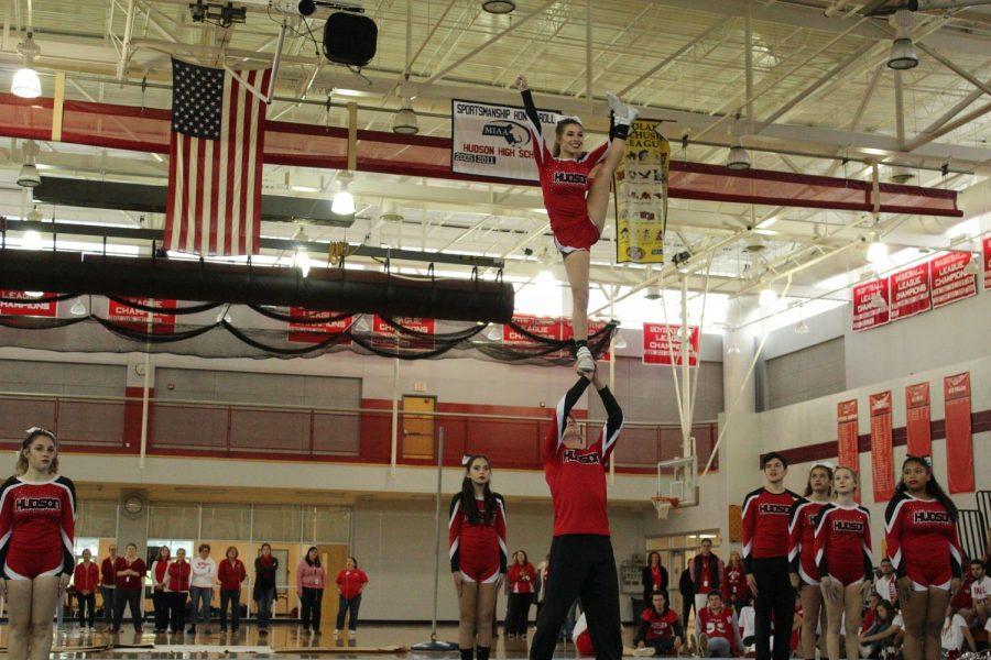 Cheerleaders hit their marks