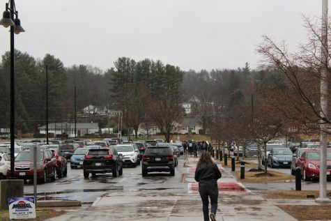 Students gather in the parking lot after walking out |by Camilla Miranda