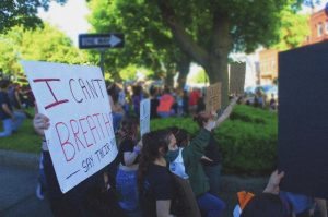 Hudson residents stand in unity at Black Lives Matter protest, June 8, 2020   by Liana Melecio