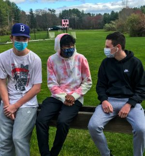 Jackson O'Brien, Neil Rao and Chase Boluc on a recent mask break. Rao is one of approximately 14 students who identify as AAPI | photo by Avani Kashalikar