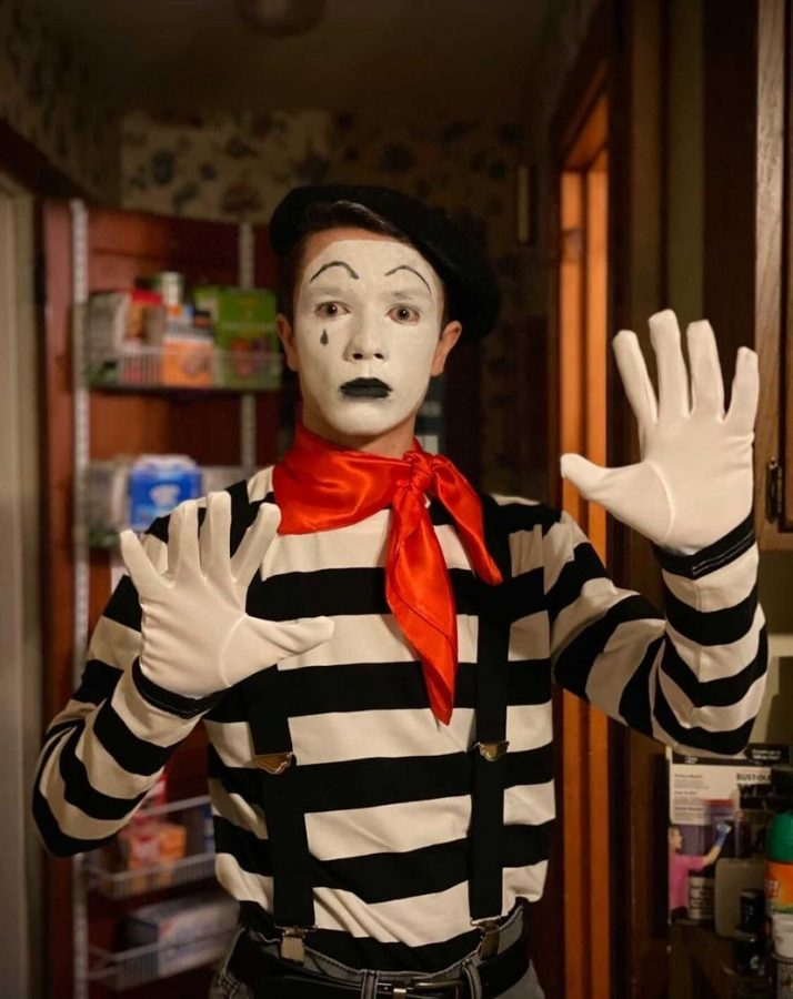 Chester posed as a mime for his senior picture day | Photo Courtesy of Chester Bliss