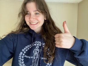 Gianna Devenney shows off her Barnard College gear. | Courtesy of Gianna Devenney