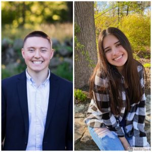 Seniors Mikey Peckham and Emily Figueiredo both will attend Harvard this fall. This is the first time two students have been accepted to Harvard in the same year. The last time a male student was accepted was 2016 and the last time a female matriculated was in 2011 | photos provided by Hudson High Yearbook and Emily Figueiredo
